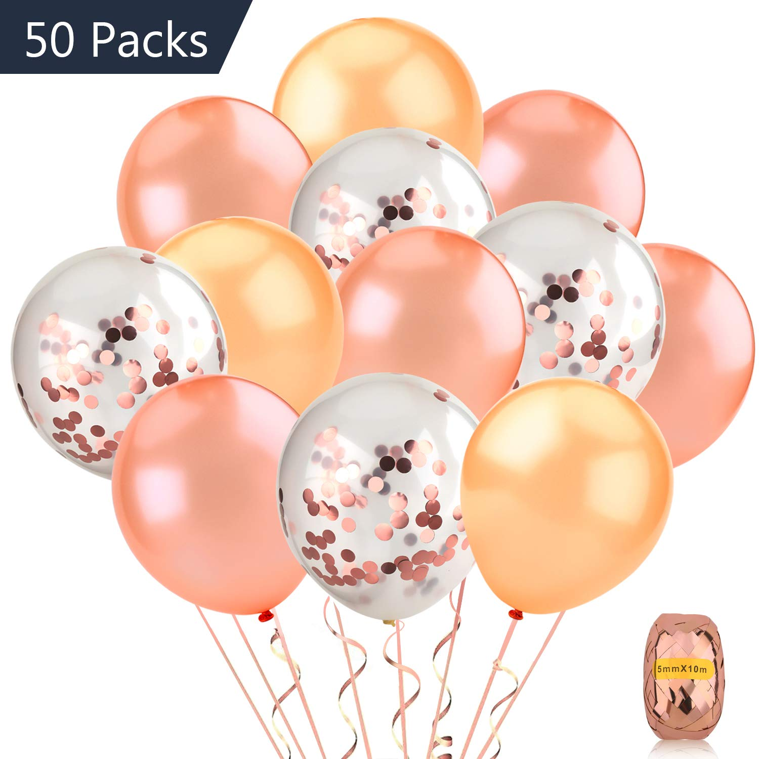 COOLOO 50 Pack 12inch Rose Gold Confetti Balloon Set Including 20 Pieces Pre-Filled Confetti Balloons and 30 Rose Gold Latex Balloons with a Rose Gold Curling Ribbon for Wedding, Rose Gold Party Decorations, Bridal Shower, Birthday Party