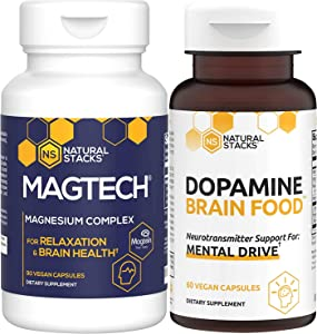 Natural Stacks Supplements Bundle - MagTech Magnesium (90ct) and Dopamine Brain Food (60ct) - Improved Focus, Memory and Motivation, Better Mood and Relaxation