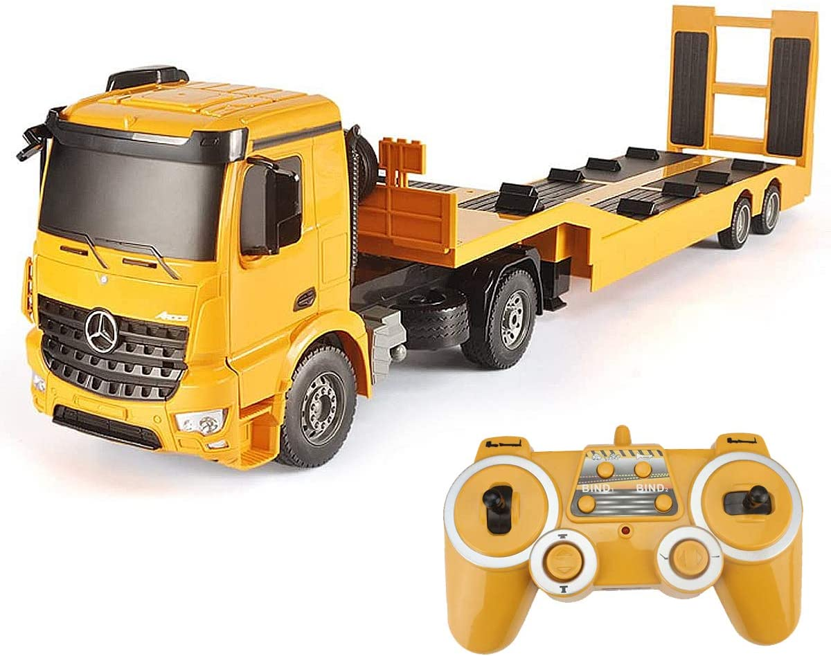 Amazon Com Fistone Rc Truck Licensed Mercedes Benz Acros Detachable Flatbed Semi Trailer Engineering Tractor Remote Control Low Loader Die Cast Car Model Kids Electronics Hobby Toy With Sound And Light Effect Toys Games