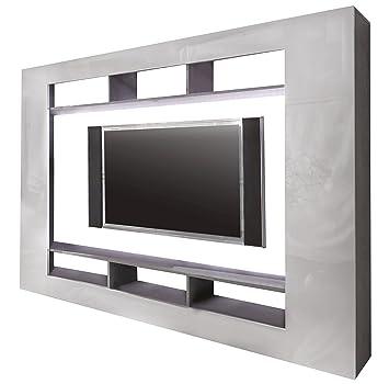 Trendteam Wohnwand TV Möbel, Weiß Hochglanz, 216 X 160 Cm