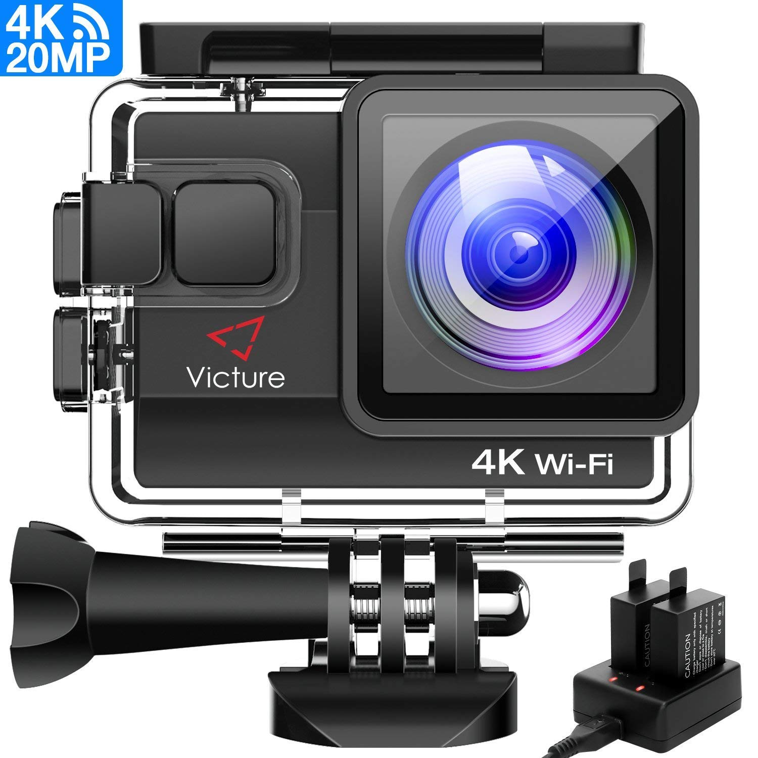 Victure 4K Action Camera 20MP WiFi Underwater Camera Diving 40 Meter Waterproof Sport Cam with 2 Rechargeable Batteries and Multiple Accessories for Biking Snorkeling Surfing by Victure