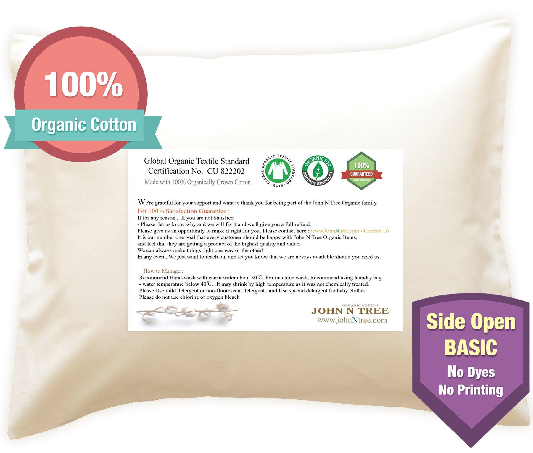 Toddler Pillow Case. No Dyeing, No Printing, 100% Organic - Global Organic Textile Standard
