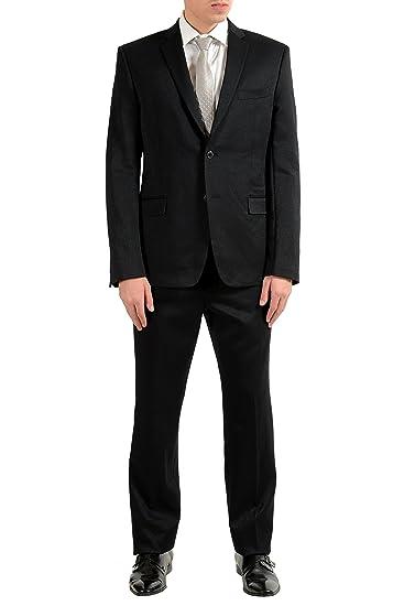 ccfc69e911 Amazon.com: Versace Collection Men's Sparkling Black Two Button Suit ...