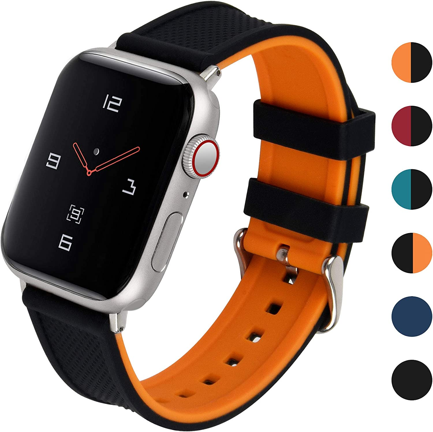 Fullmosa Soft Silicone Sport Strap Compatible with Apple Watch 40mm 44mm Sports Band for Series 4 Series 6 SE Sport Edition Women Men, Pumpkin Orange Bottom/ Black Top