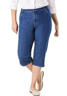 Woman Within Womens Plus Size Petite Capri Fineline Jean