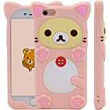 MC Fashion 3D Japanese Cartoon Rinkadoll Super Cute Soft Silicone Case Cover for Apple iPhone 6/6S - Rilakkuma