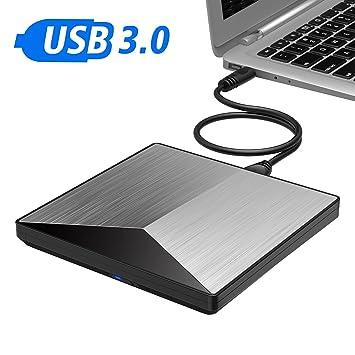 Unidad de DVD Externa, OUDEKAY USB 3.0 Grabadora CD/DVD Externa Portátil con Diseño Antichoque Capacidad de Corrección de Errores Compatible con XP/ ...