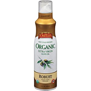 Pompeian USDA Certified Organic Extra Virgin Olive Oil Non-Stick Cooking Spray, Full-Bodied Flavor, Perfect for Salads and Pasta Drizzling, Naturally Gluten Free, Non-Allergenic, Non-GMO, No Propellants, 5 FL. OZ., Single Bottle