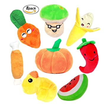 Bwogue Paquete de 8 juguetes para perros chirriantes para perros pequeños, frutas y verduras Peluche