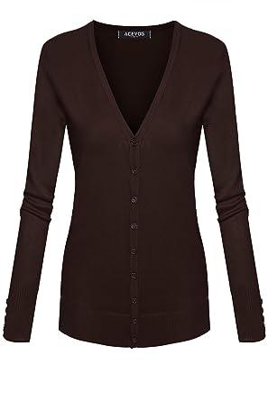 b79885e5f9 ACEVOG Women Classic Soft Long Sleeve Open Front Cardigan Sweater Knitwear  Brown Small