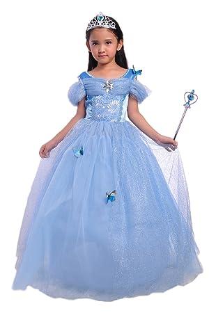 41b82b677a0dc La bellezza プリンセス シンデレラ キッズ ドレス ハロウィン コスプレ 衣装 ティアラ   ステッキ ブルー (100cm)