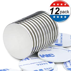 MIKEDE Strong Neodymium Magnets with Double-Sided Adhesive, Refrigerator Magnets for Office, Hobbies, Crafts, Round Ceramic Industrial Ferrite Magnets,Packs of 12