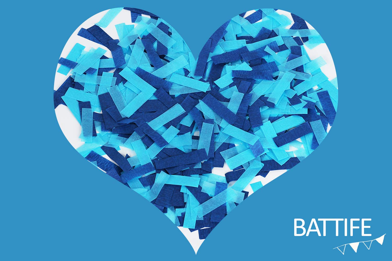 Battife Confetti Sticks 6Pack Blue Biodegradable Tissue Paper Confetti Flick Flutter Wands for Birthday Party Wedding - Blue 14inch by BATTIFE (Image #4)