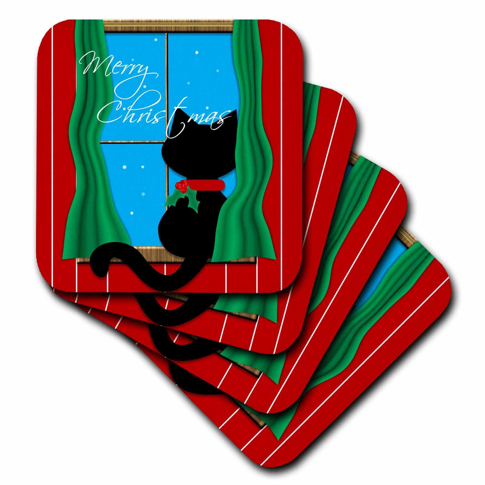3dRose cst_155257_2 Merry Christmas Cute Black Cat in Snowy Window Soft Coasters, Set of 8