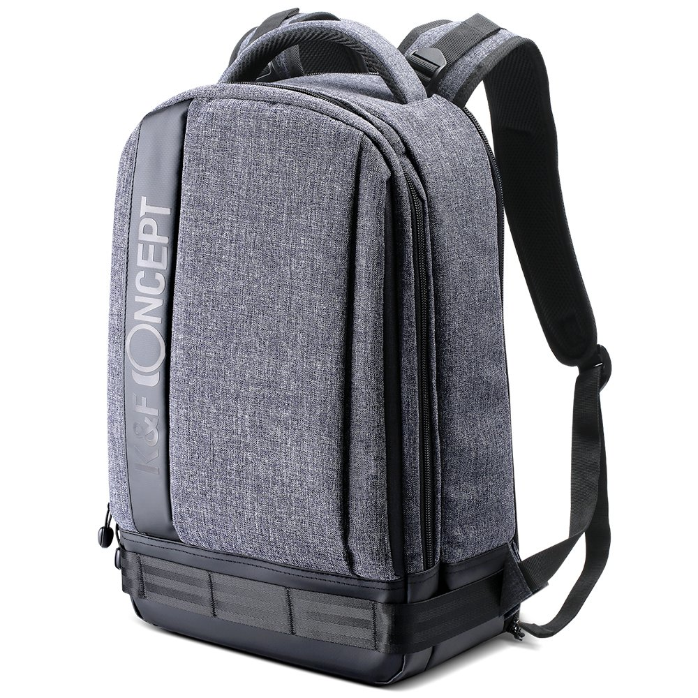 K&F Concept Lightweight DSLR Camera Backpack Water Resistant Nylon Multipurpose Bag for Canon Nikon Fuji and Other Cameras Laptop Ipad - Light Grey(17.32 * 6.30 * 11.42