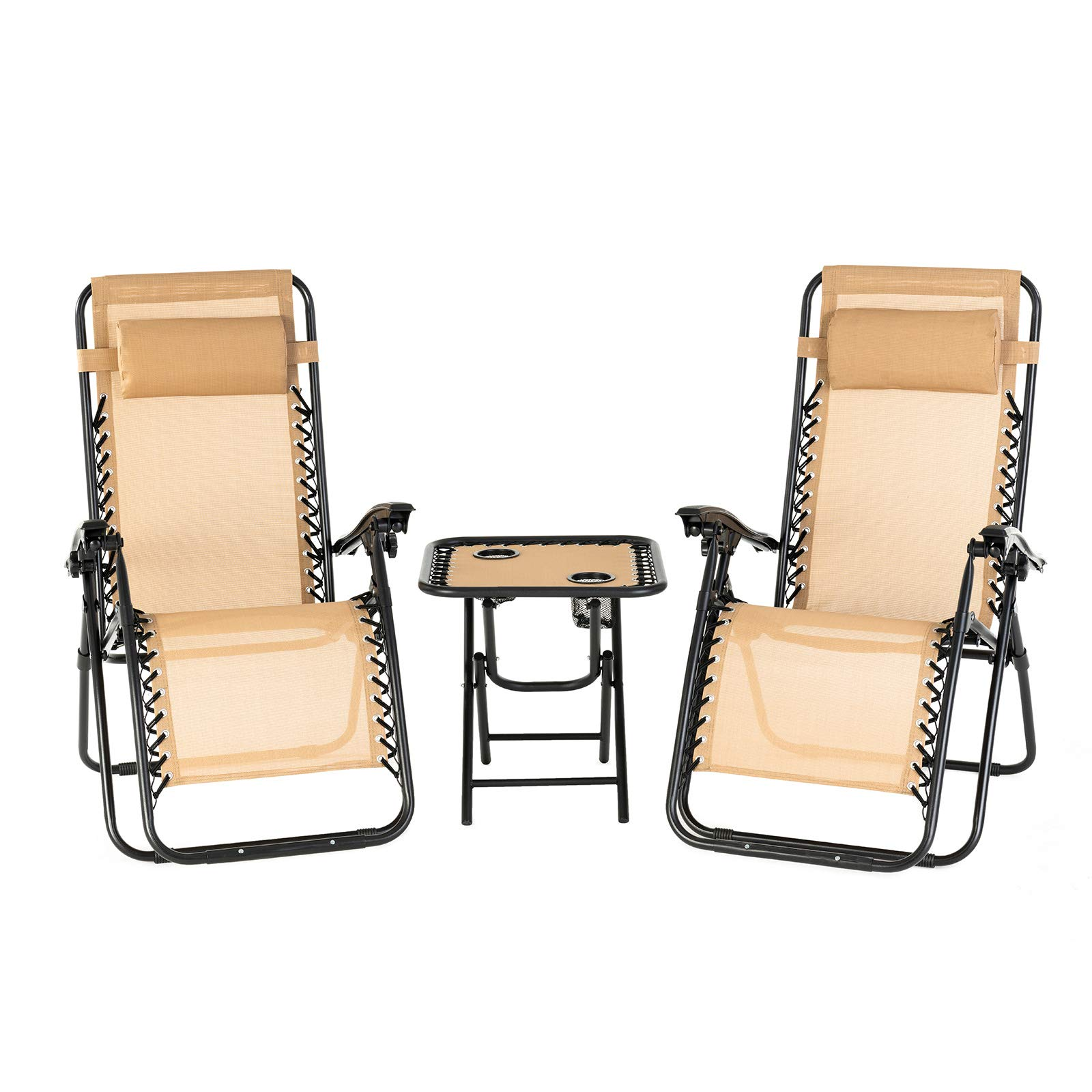 mecor 3PC Zero Gravity Lounge Chairs Adjustable Recliner Patio Chairs Folding Recliner with Folding Table Outdoor Yard Beach (Beige)