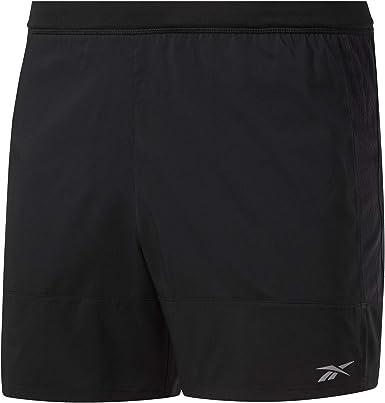 Hombre Negro Reebok Re 5 Inch Short Pantal/ón Corto S