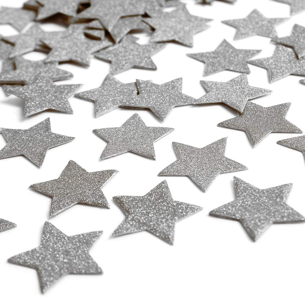 ZOOYOO Glitter Paper Confetti Star, Wedding Party Decor and Table Decor,Star Confetti Glitter Paper Confetti, DIY Kits,400pcs,Star Dots (Silver)
