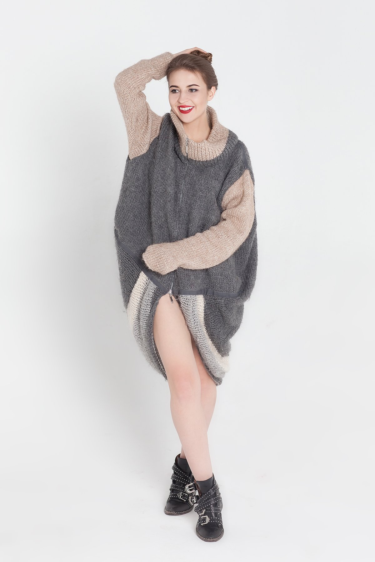 Zipped Sweater Super oversized cardigan Cocoon sweater Zipped cardigan Zip cardigan Knitted wrap Open front sweater Knitted coat Gray knit