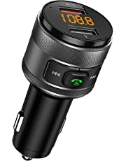 [New Arrival] FM Transmitter, CHGeek QC3.0 Bluetooth FM Transmitter Car Wireless Radio Adapter Handsfree Car Kit with 5V/4A Dual USB Charger Ports, Voltage Display, Play USB Flash Drive for iOS and Android Devices