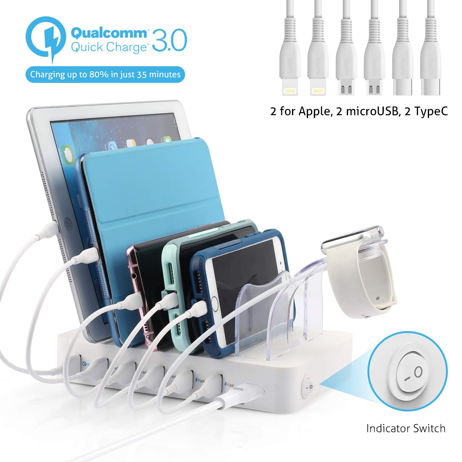 Soopii Quick Charge 3.0 60W/12A 6-Port USB Charging Station Organizer for Multiple Devices, 6 Short Mixed Cables Included, I Watch Holder,for Phones, Tablets, and Other Electronics