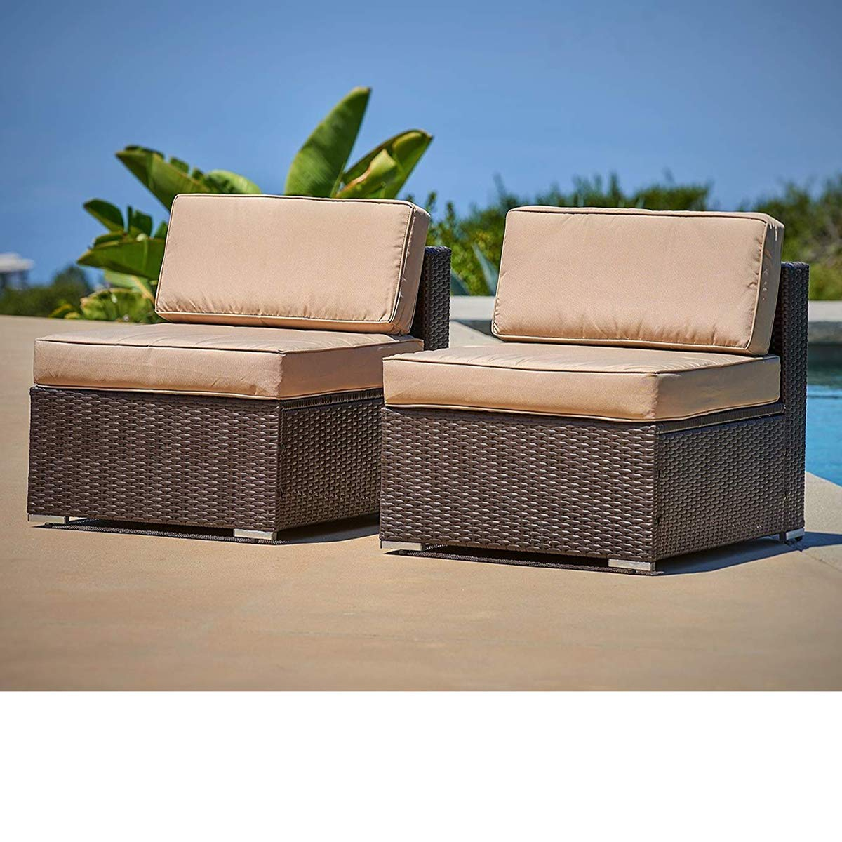 SUNCROWN Outdoor Furniture Brown Wicker Patio Sofa Chairs 2, Additional Seats for 7-Piece Sets with Washable Cushion Covers, Backyard, Pool by SUNCROWN