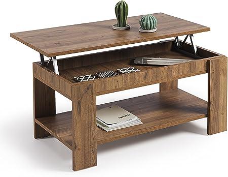 Mesa de centro elevable con revistero, en color madera envejecida nogal,Material: Tablero de partícu
