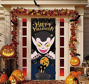 Halloween Door Sticker 3D Vampire Dracula Bats, Door Decor Halloween Sticker for Kids Party Haunted House Carnival Holiday Vampire Celebration Bedroom Living Room Gate Decoration 2 Sheets (30 X 78 in)