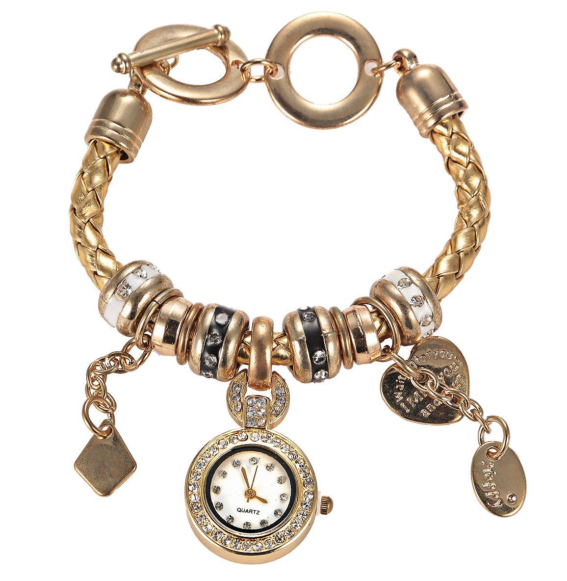 Soulvin Women Retro Love Heart Pendant Charm Rhinestones Weave Belt Bracelet Watch Golden