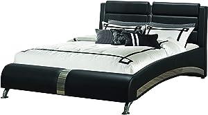 Coaster Home Furnishings Jeremaine Queen Upholstered Bed Black Platform, 97.75