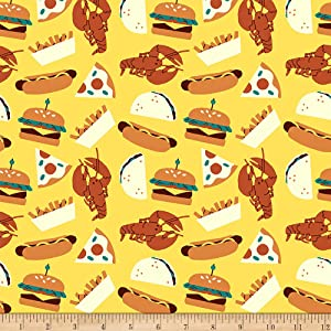 Fabri-Quilt Studios Food Truck Foods Yellow, Fabric by the Yard