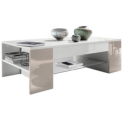 Vladon Table de Salon Table Basse Clip en Blanc avec des Bordures en Gris  Sable Haute Brillance