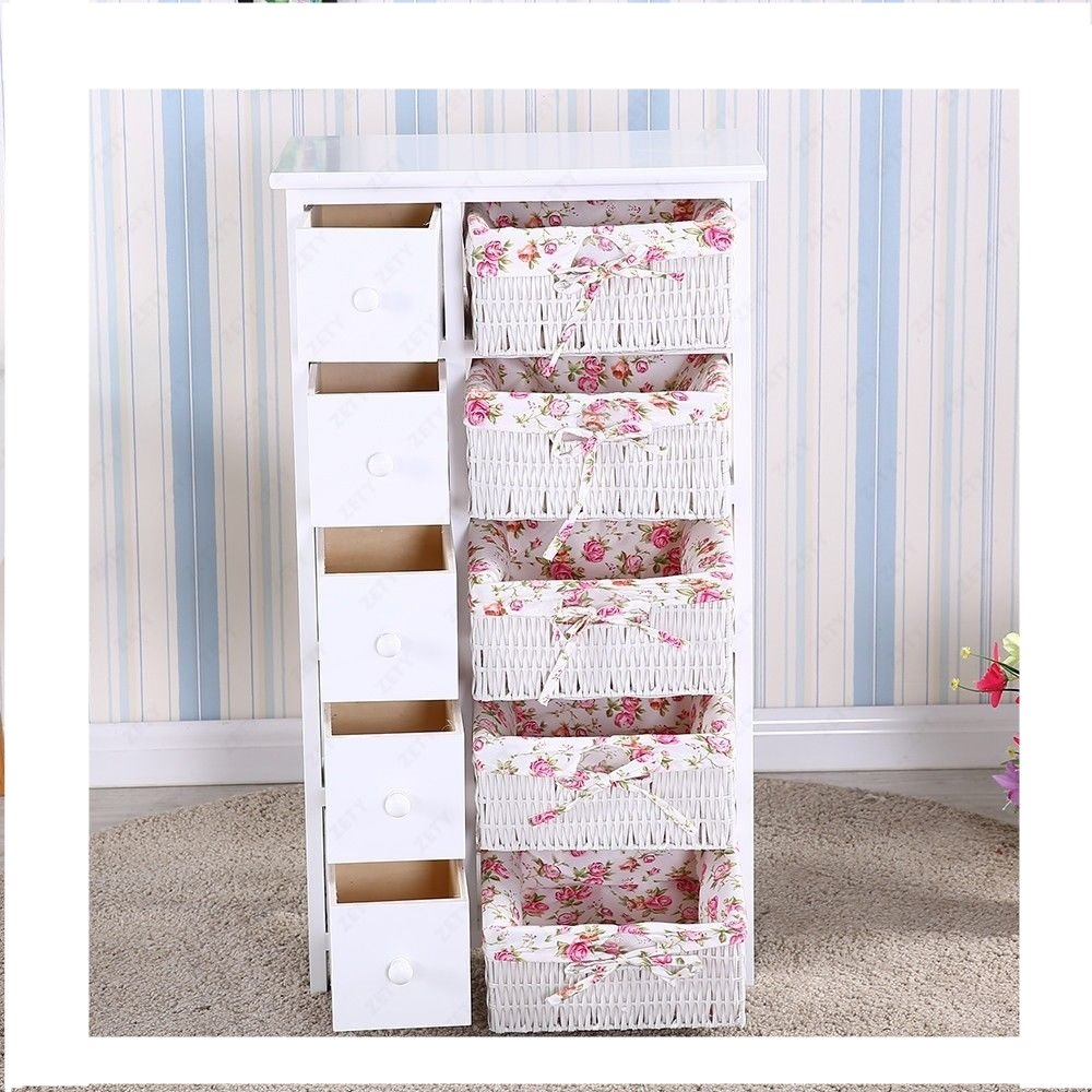 5 Drawers 5 baskets Storage Dresser Chest Cabinet Wood Bedroom Furniture by Heaven Tvcz