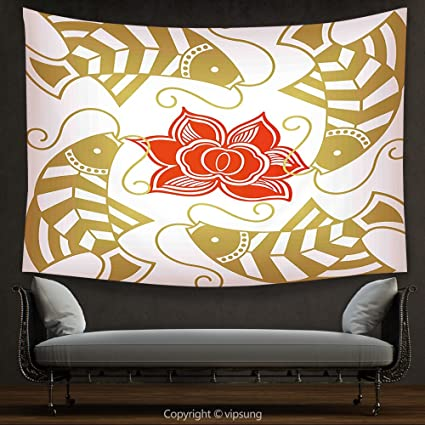 House Decor Tapestry Asian Decor By Feng Shui Japanese Chinese Asian Themed Fish With Flower Artwork