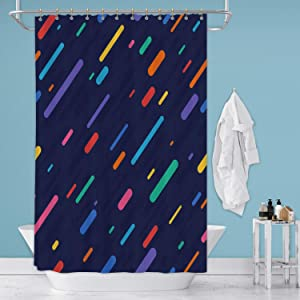 Hitecera Rainbow Rain Seamless Background Stock Illustration USA,Shower Curtain Pattern for Bathroom 36 in by 72 in (WxH)