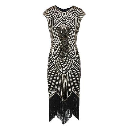 AIMTOPPY HOT Sale, Women Tassel Prom Dresses Beaded Sequin Art Nouveau weave Dress (S