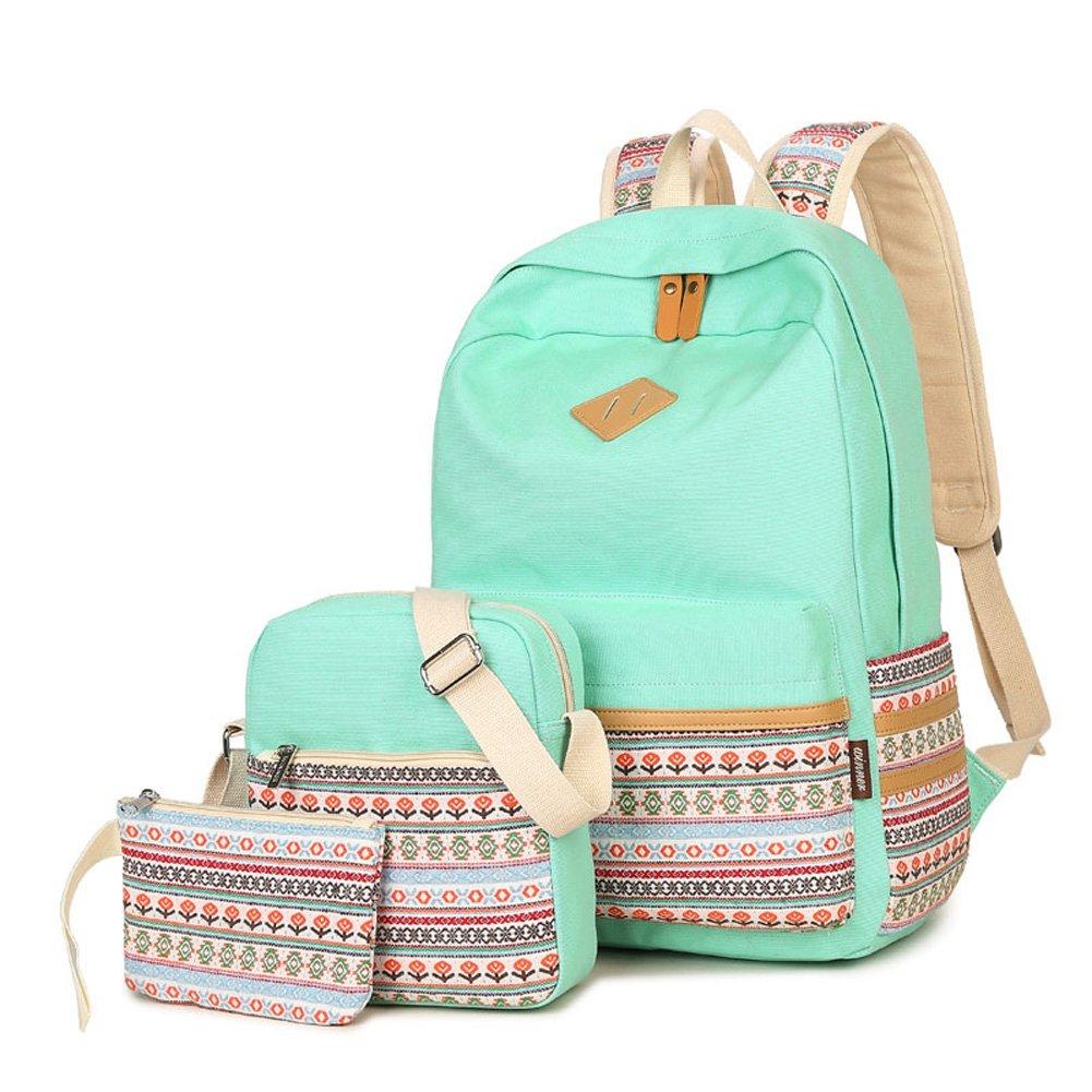 KARRESLY 3Pcs Canvas Laptop Bag Shoulder Daypack School Backpack Causal Handbag Bookbags College Bags(Green 3Pcs)