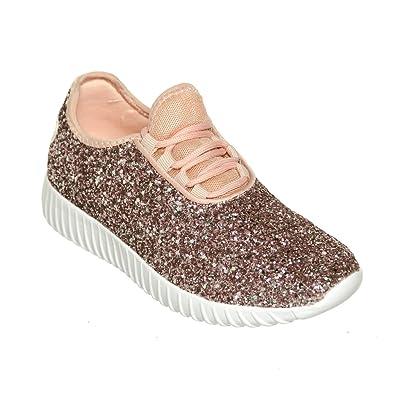 Women's Lace up Glitter Fashion Sneaker