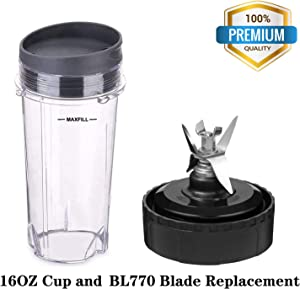 Replacement Blade 6 Fins for Nutri Ninja BL770 BL771 BL772 BL773CO, with Ninja 16 OZ Blender Cups Replacement (3 Packs)