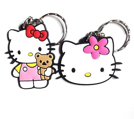 Llavero de PVC de dos piezas de Hello Kitty, diseño Kawaii ...