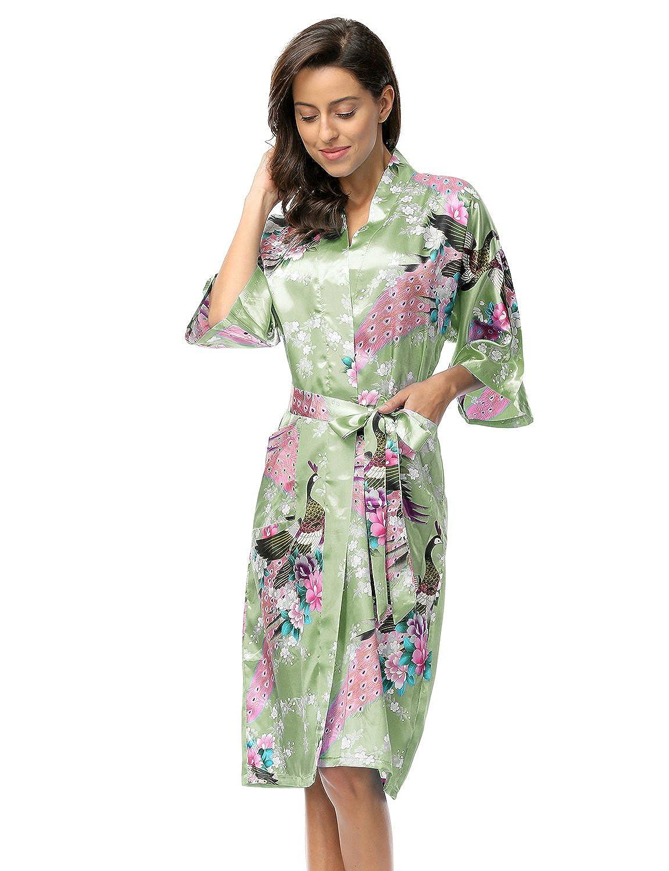 BELLOO Ladies Silk Satin Dressing Gown Long Kimono Robe 12 Colors Size 8-22 UK