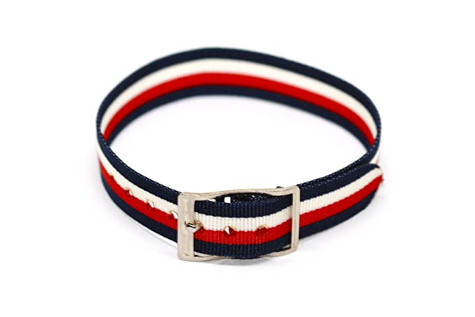 08c9dac192f Image Unavailable. Image not available for. Color  Vintage 12mm Multicolor  Red White Blue One Piece Slip Thru Nylon Sport Active Watch Band Strap
