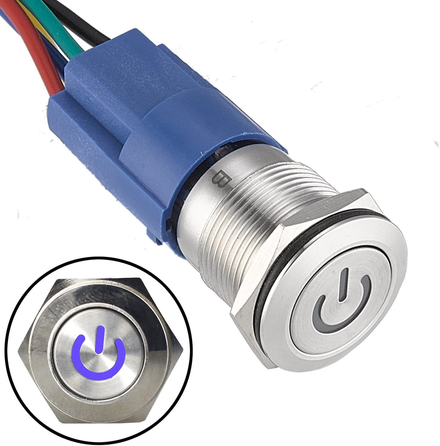 Linkstyle DC 12V 19mm Metal Latching Push Button Switch Waterproof Round Marine Button Switch with Red LED Light with Wire Socket Plug 4 Pin Car RV Truck Boat ON//OFF Switch