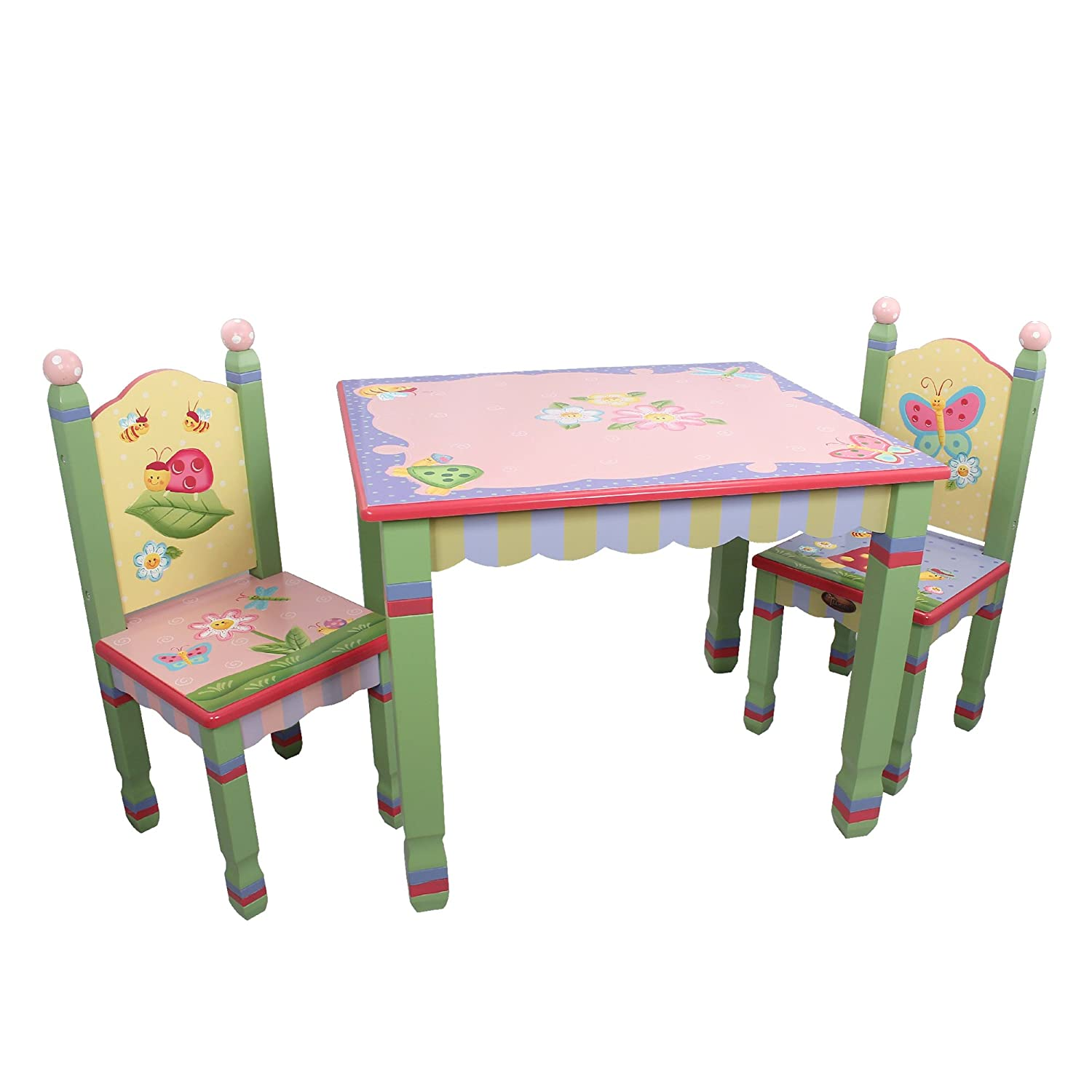 amazoncom fantasy fields magic garden thematic hand crafted kids wooden table and 2 chairs set imagination inspiring hand crafted u0026 hand painted details - Kid Table And Chair Set