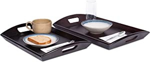 BIRDROCK HOME Breakfast Serving Tray with Handles - Set of 2 - Espresso - Bamboo - Wood - Food - Breakfast Tray - Party Platter - Nesting - Kitchen and Dining