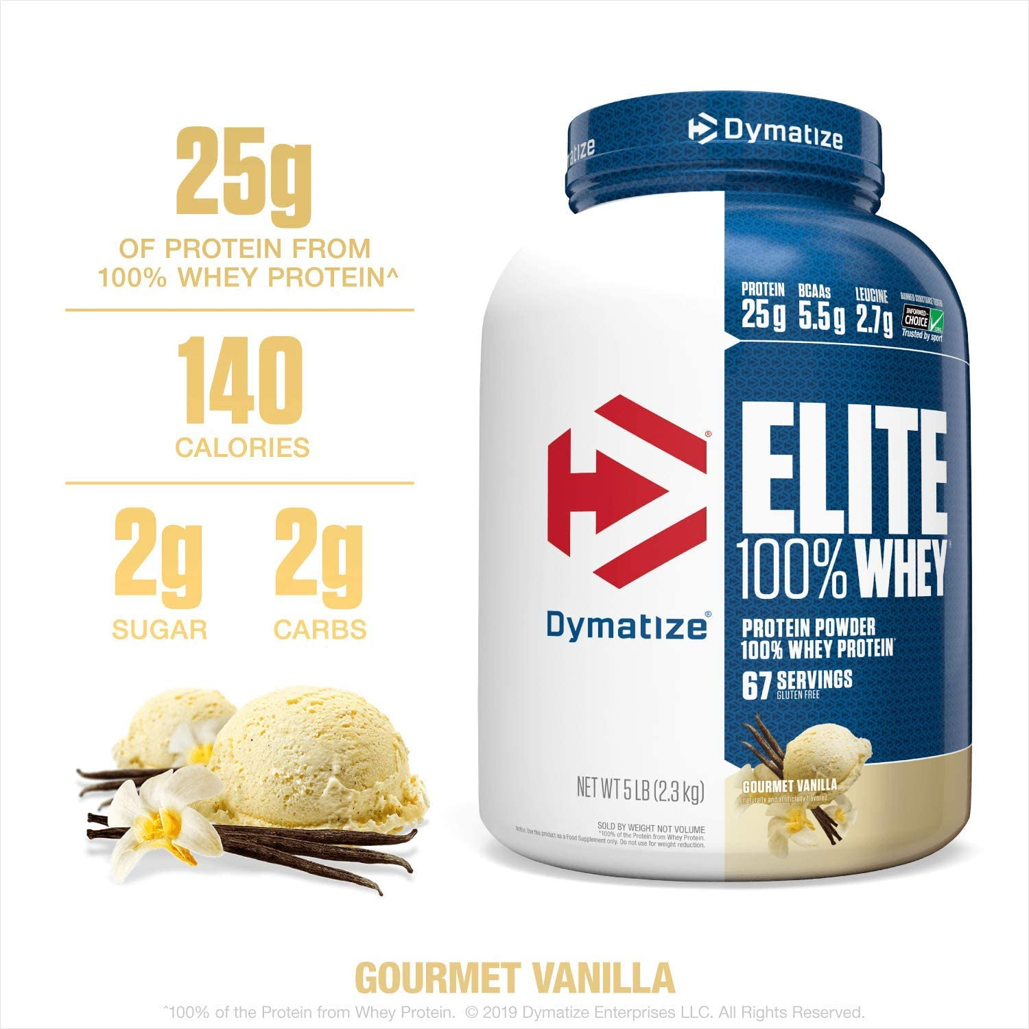 Dymatize Elite 100% Whey Protein Powder, 25g Protein, 5.5g BCAAs & 2.7g L-Leucine, Quick Absorbing & Fast Digesting for Optimal Muscle Recovery