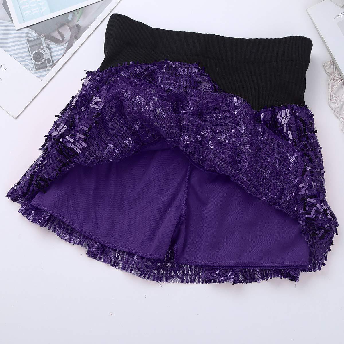 iiniim Women Sparkle Glitter Sequins Running Skirt Race Costume Ballet Tutu Layered Mini Skirt