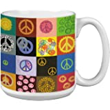 Tree-Free Greetings Extra Large Jumbo 20-Ounce Ceramic Coffee Mug Cup, Peace Is Everywhere Themed Vibrant Art - Gift for Coffee Lovers (XM29592)