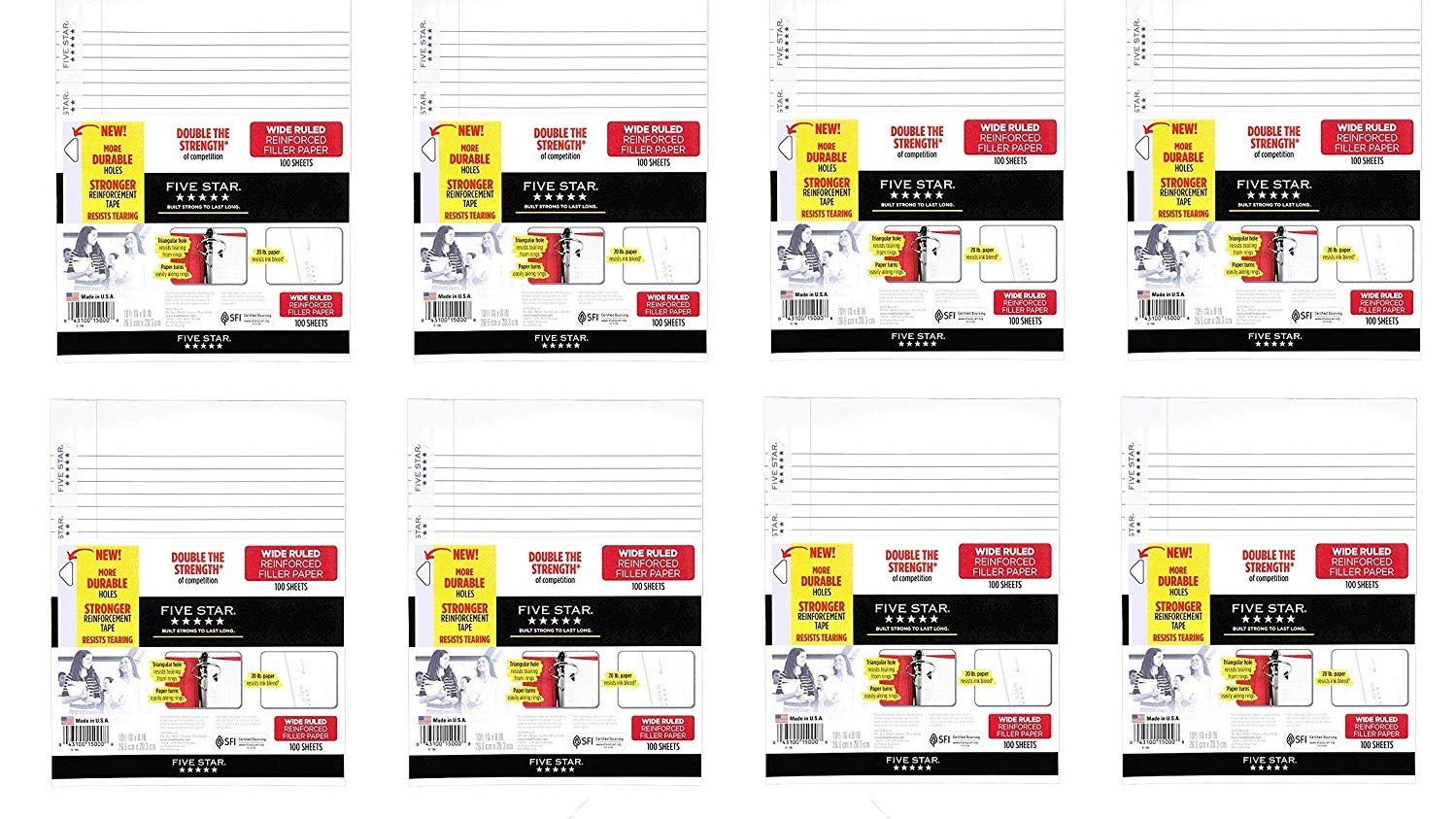 100 Sheets//Pack Five Star Loose Leaf Paper 3 Hole Punched 10-1//2 x 8 15000 Wide Ruled Reinforced Filler Paper