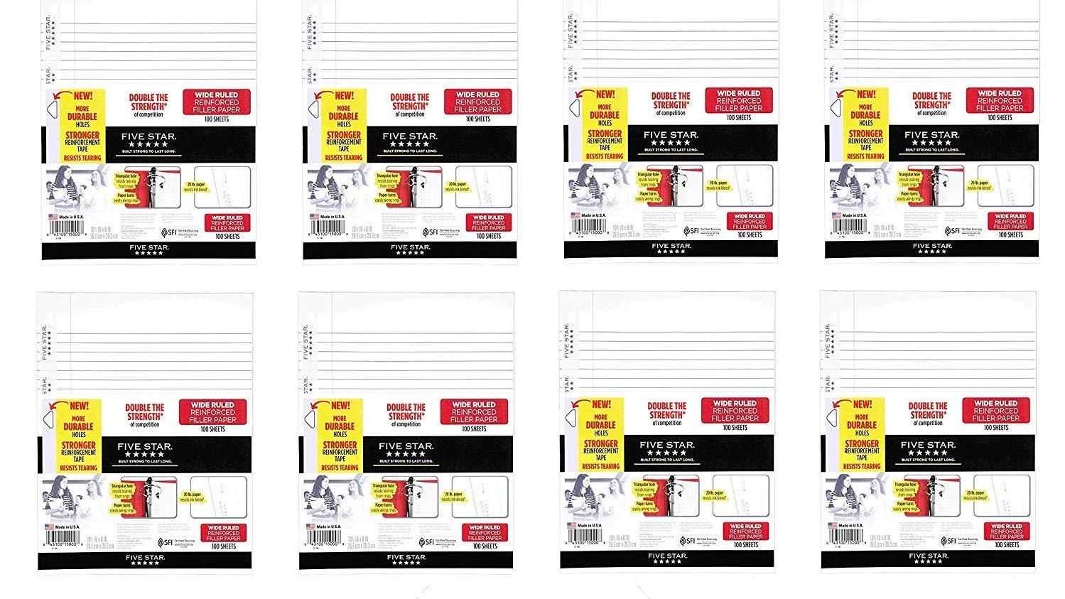 Five Star Filler Paper, Wide Ruled, Reinforced, Loose Leaf Paper, 10.5 x 8, 100 Sheets/Pack, 8 Pack (15000)